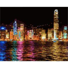Живопись по номерам Ночной Гонконг, 40x50, Paintboy, GX7256