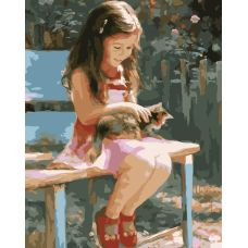 Живопись по номерам Девочка с котенком, 40x50, Paintboy, GX7209