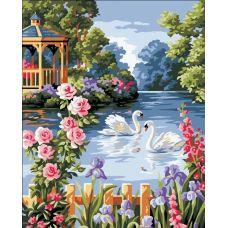 Живопись по номерам Лебеди на пруду, 40x50, Paintboy, GX6712