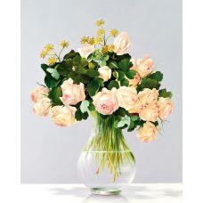 Алмазная мозаика Розы в стеклянной вазе, 40x50, полная выкладка, Новый мир