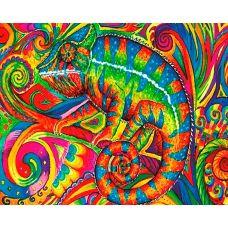 Алмазная мозаика Цветной хамелеон, 40x50, полная выкладка, Новый мир