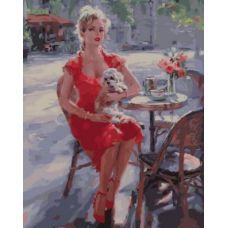 Живопись по номерам Девушка в кафе, 40x50, Paintboy, GX33865