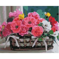 Живопись по номерам Корзинка с цветами, 40x50, Hobruk, HS1327
