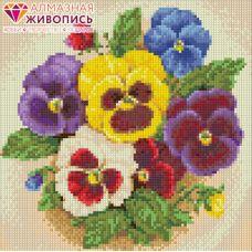Мозаика стразами Виола, 25x25, полная выкладка, Алмазная живопись
