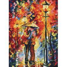 Набор для вышивания крестом Поцелуй под дождем, 27x35, Белоснежка