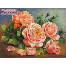 Мозаика стразами Ароматные розы, 30x40, полная выкладка, Алмазная живопись