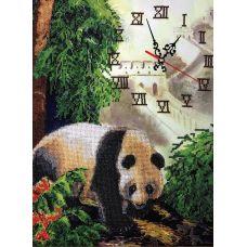 Набор для вышивания бисером на шелке Часы с пандой, 31x40, Fedi