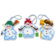Набор для вышивания крестом Новогодние игрушки Снеговички, 7,5x7, Риолис, Сотвори сама