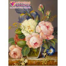 Мозаика стразами Винтажный букет, 30x40, полная выкладка, Алмазная живопись