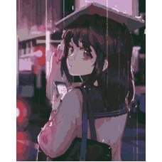 Живопись по номерам Девушка под дождем, 40x50, Hobruk, HS1288