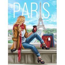 Мозаика стразами Утро в Париже, 30x40, полная выкладка, Алмазная живопись