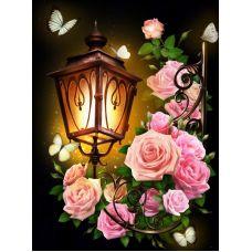 Мозаика стразами Фонарь в розах, 30x40, полная выкладка, Алмазная живопись