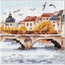 Набор для вышивания крестом Осень в городе. Чайки над мостом, 7x7, Алиса