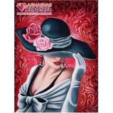 Мозаика стразами Леди Роза, 30x40, полная выкладка, Алмазная живопись