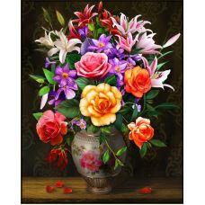 Мозаика стразами Розы и лилии, 40x50, полная выкладка, Алмазная живопись