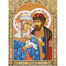Мозаика стразами Икона Святые Петр и Феврония, 30x40, полная выкладка, Алмазная живопись