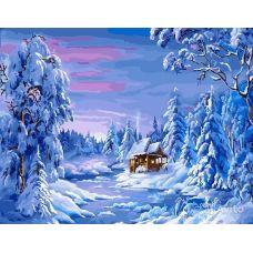 Живопись по номерам Домик в заснеженном лесу, 40x50, Paintboy, GX22103