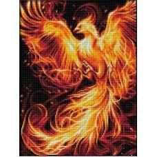 Мозаика стразами Огненный феникс, 30x40, полная выкладка, Алмазная живопись