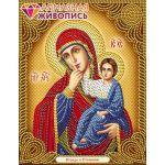 Мозаика стразами Икона Отрада и Утешение, 22x28, частичная выкладка, Алмазная живопись