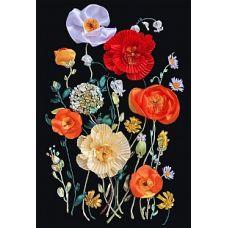 Набор для вышивания лентами, Маки в цвету, 30x47, Любава