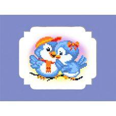 Набор для вышивания с бисером и паспарту Птички, 18x24 (13x16), Матренин посад