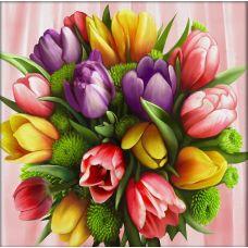 Мозаика стразами Букет тюльпанов, 40x40, полная выкладка, Алмазная живопись