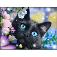 Мозаика стразами Черный кот в цветах, 40x30, полная выкладка, Алмазная живопись