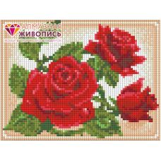 Мозаика стразами Молодая роза, 15x20, полная выкладка, Алмазная живопись