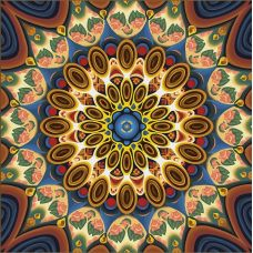 Мозаика стразами Мандала благополучия, 40x40, полная выкладка, Алмазная живопись