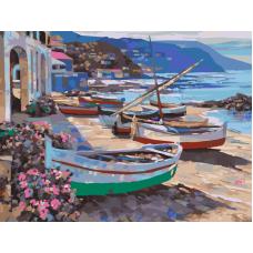 Живопись по номерам Лодочки на берегу, 30x40, Hobruk, HS2002