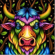 Мозаика стразами Радужный бык, 25x25, полная выкладка, Алмазная живопись