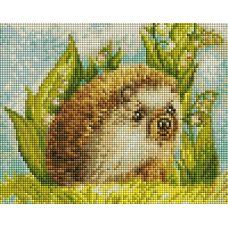 Алмазная мозаика Ежик в ландышах, 20x25, полная выкладка, Белоснежка