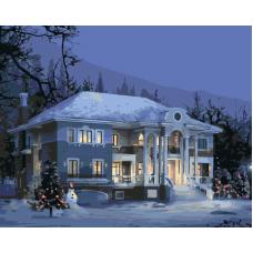 Живопись по номерам Особняк зимой, 40x50, Hobruk, HS0308