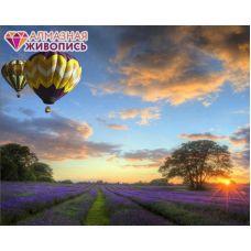 Мозаика стразами Полет на воздушном шаре, 40x50, полная выкладка, Алмазная живопись