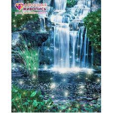 Мозаика стразами Искрящийся водопад, 40x50, полная выкладка, Алмазная живопись