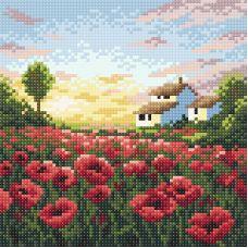 Алмазная мозаика Маковое утро, 20x20, полная выкладка, Brilliart (МП-Студия)