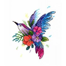 Набор для вышивания крестом по водорастворимой канве Райская птичка, 11x9, Жар-Птица (МП-Студия)
