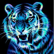 Мозаика стразами Неоновый тигр, 25x25, полная выкладка, Алмазная живопись