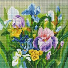 Алмазная мозаика Нежные ирисы, 30x30, полная выкладка, Белоснежка