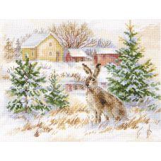 Набор для вышивания крестом Зимний день. Заяц-русак, 23x17, Алиса
