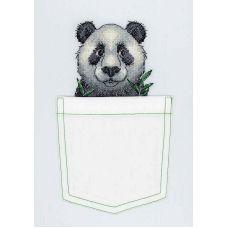Набор для вышивания крестом по водорастворимой канве Веселая панда, 8x9, Жар-Птица (МП-Студия)