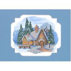 Набор для вышивания с бисером и паспарту Пряничный домик, 24x26 (12x15), Матренин посад