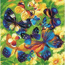 Алмазная мозаика Яркие бабочки, 30x30, полная выкладка, Риолис