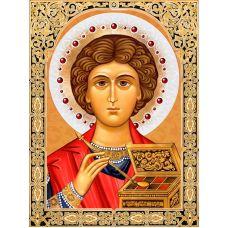 Мозаика стразами Икона Пантелеймон Целитель, 30x40, полная выкладка, Алмазная живопись