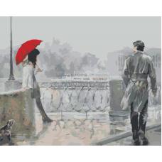 Живопись по номерам Красный зонт, 40x50, Hobruk, HB0026
