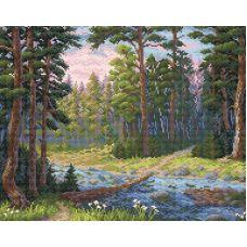 Алмазная мозаика Лесная речка, 48x38, полная выкладка, Brilliart (МП-Студия)