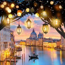 Мозаика стразами Вечерняя Венеция, 40x40, полная выкладка, Алмазная живопись