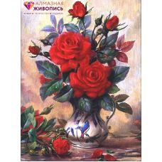 Мозаика стразами Прекрасные розы, 30x40, полная выкладка, Алмазная живопись