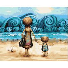 Живопись по номерам Мама с дочкой, 40x50, Hobruk, HS0163