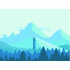 Живопись по номерам Горы и маяк, 30x40, Hobruk, HS0339